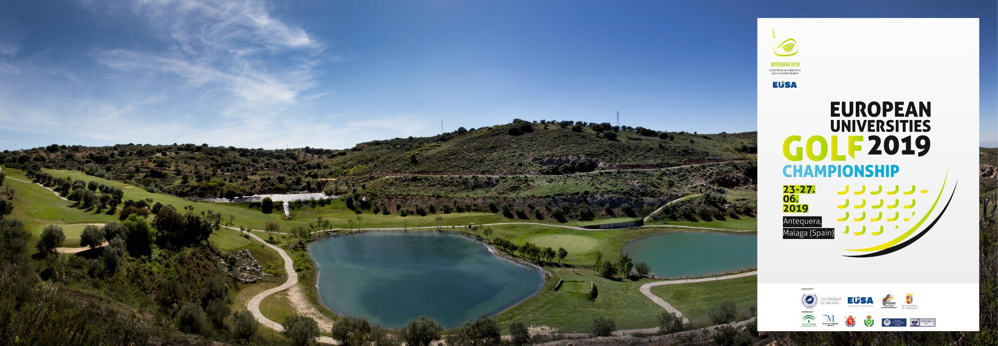 panorámica con dos lagos en antequera golf