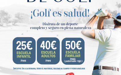 El inicio de la nueva Academia de Golf del campo de golf de Antequera combina la posibilidad de practicar deporte al aire libre y en plena naturaleza de forma asequible, completa y totalmente segura
